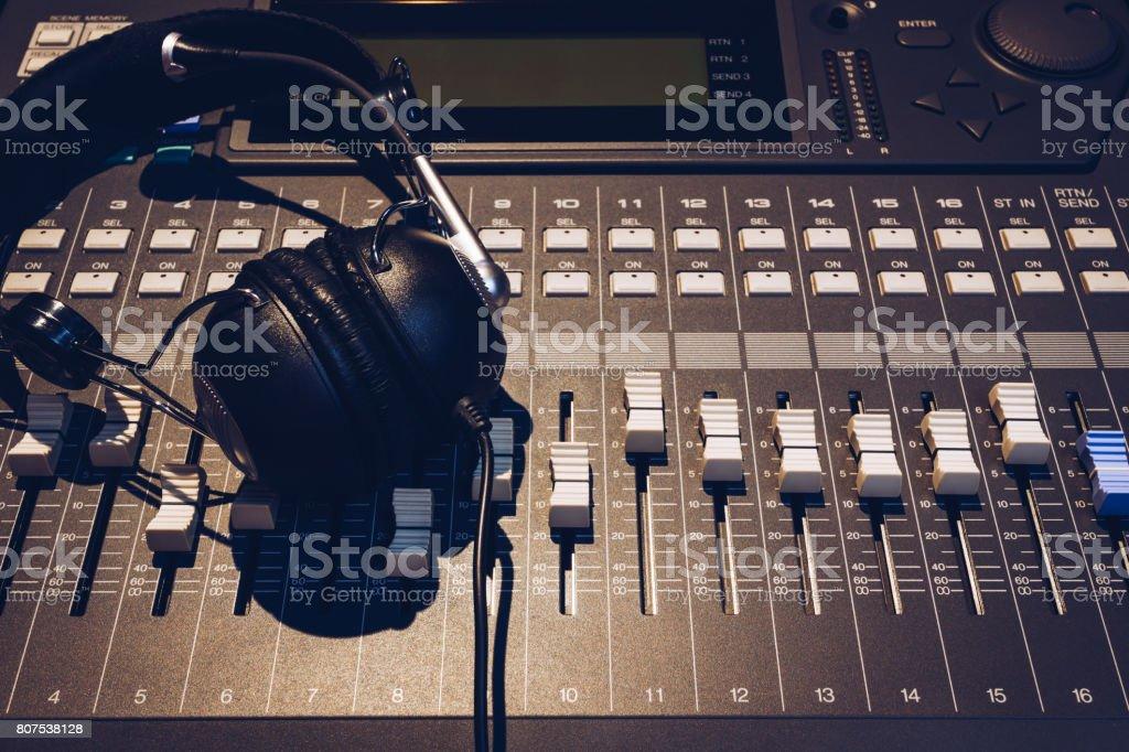 headphone on sound mixer stock photo