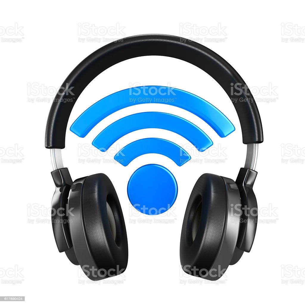 Headphone on white background. Isolated 3D image stock photo
