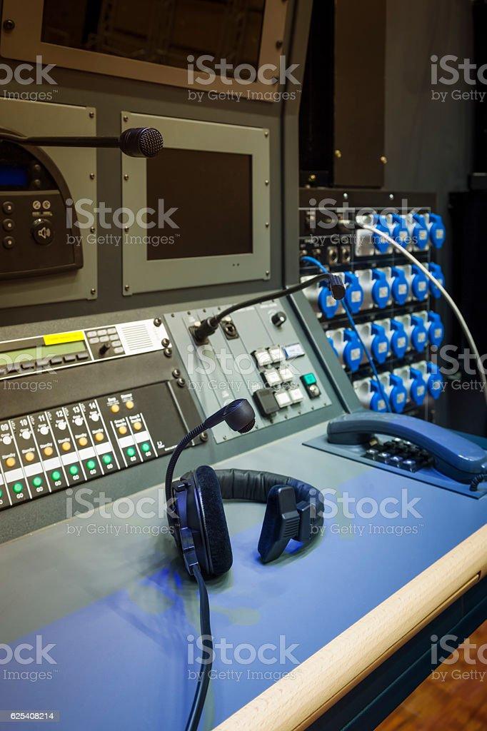 Headphone Sound Engineer Mixing Control Room Music Studio Record stock photo