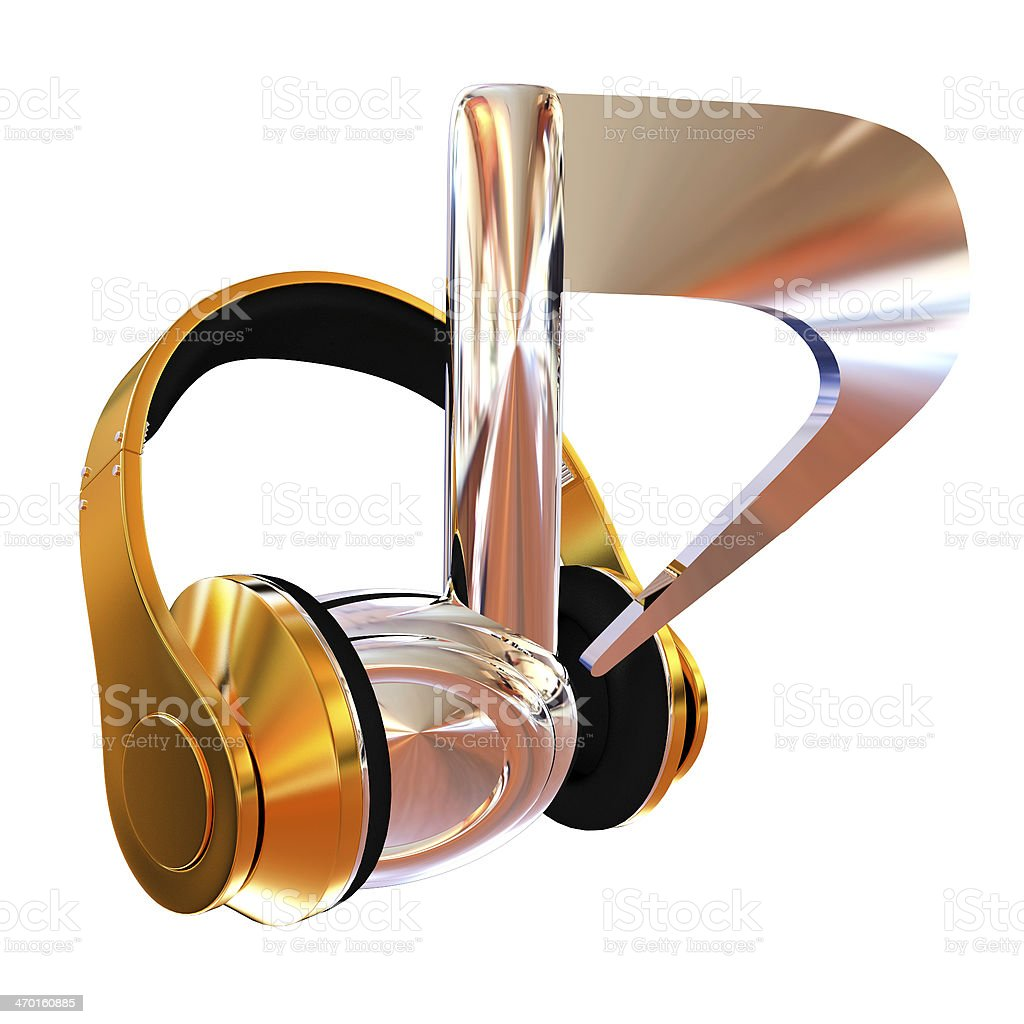 headphones and 3d note stock photo