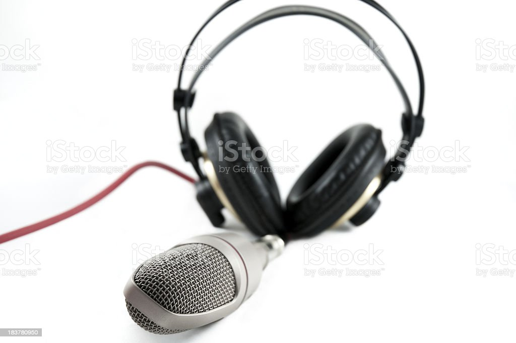 headphones and microphone royalty-free stock photo