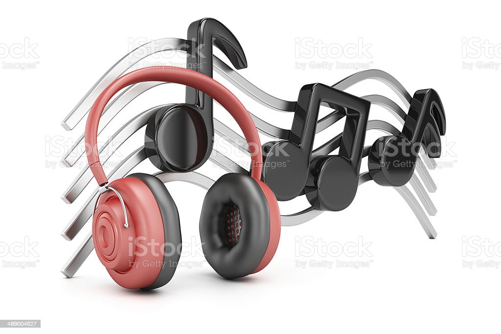 Headphones and music notes royalty-free stock photo