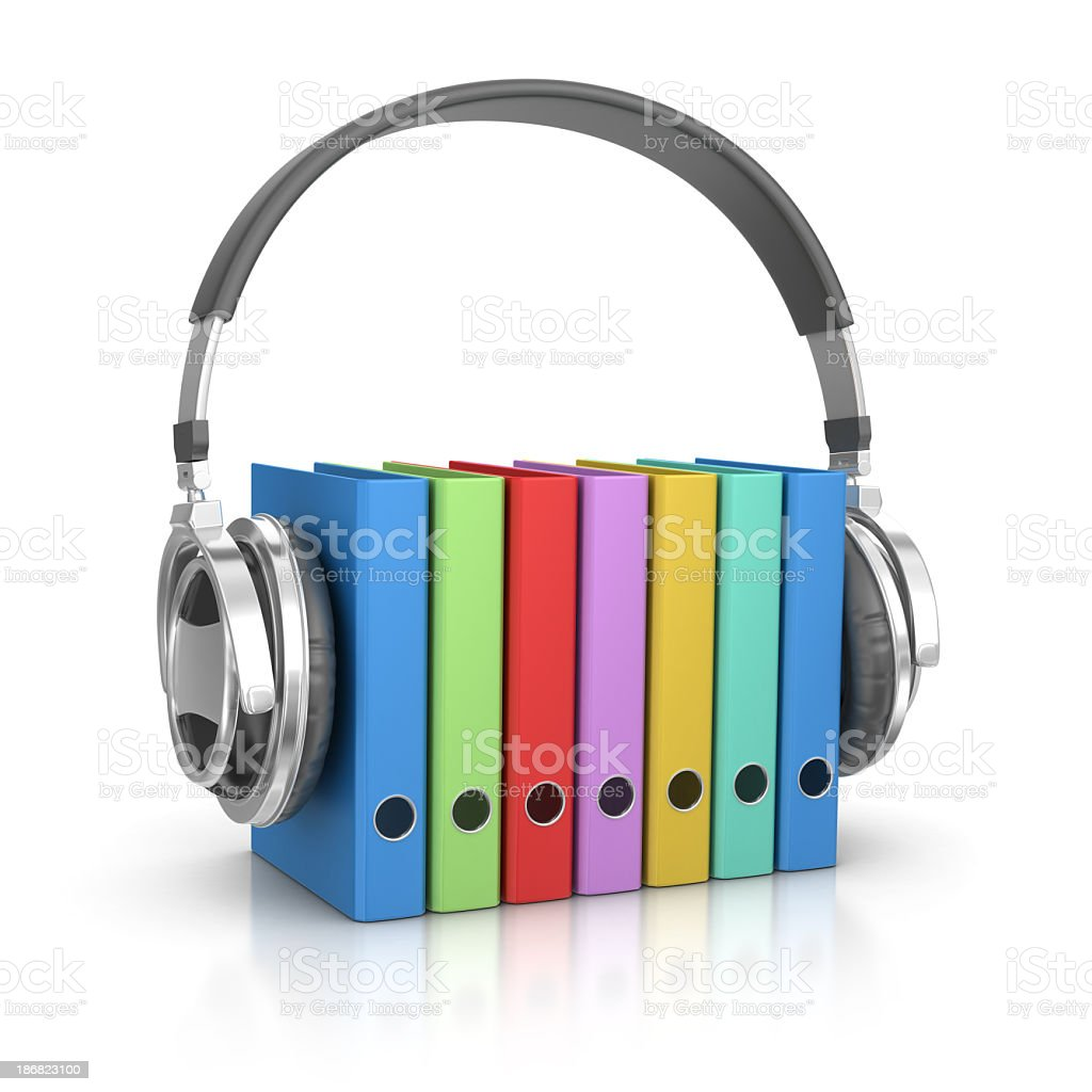 Headphones and Ring Binders royalty-free stock photo