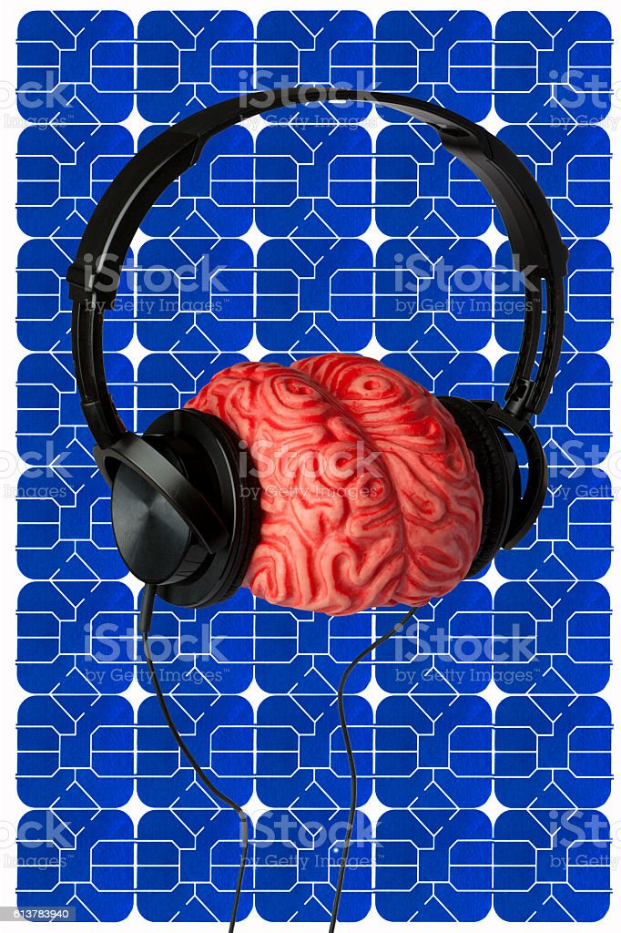 Headphones, Brain and Sim Card stock photo