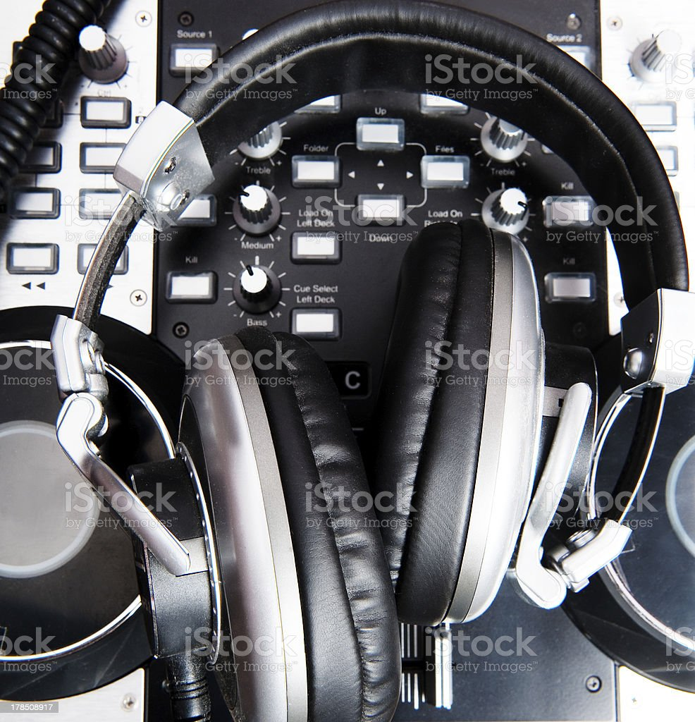 headphones close up in a music console royalty-free stock photo