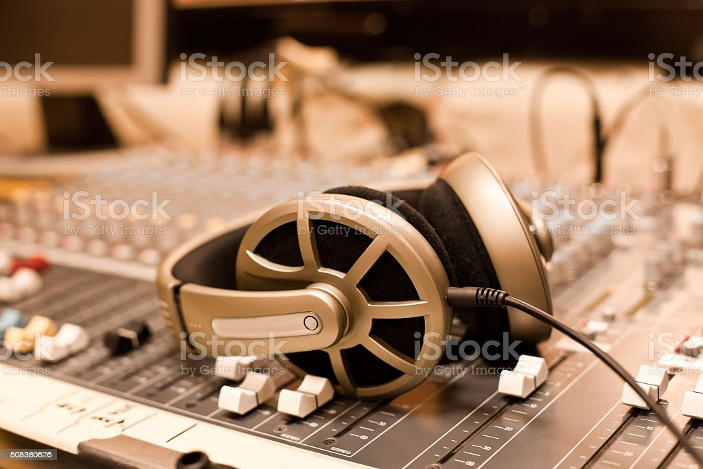 Headphones closeup stock photo