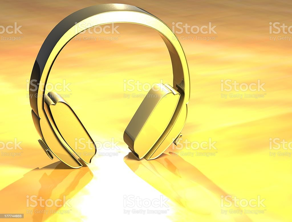 3D Headphones Gold Sign royalty-free stock photo