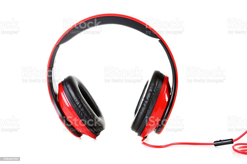 Headphones isolated on a white, close up stock photo