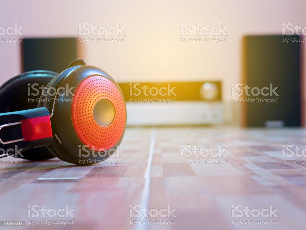 Headphones lying on the floor, with audio. stock photo