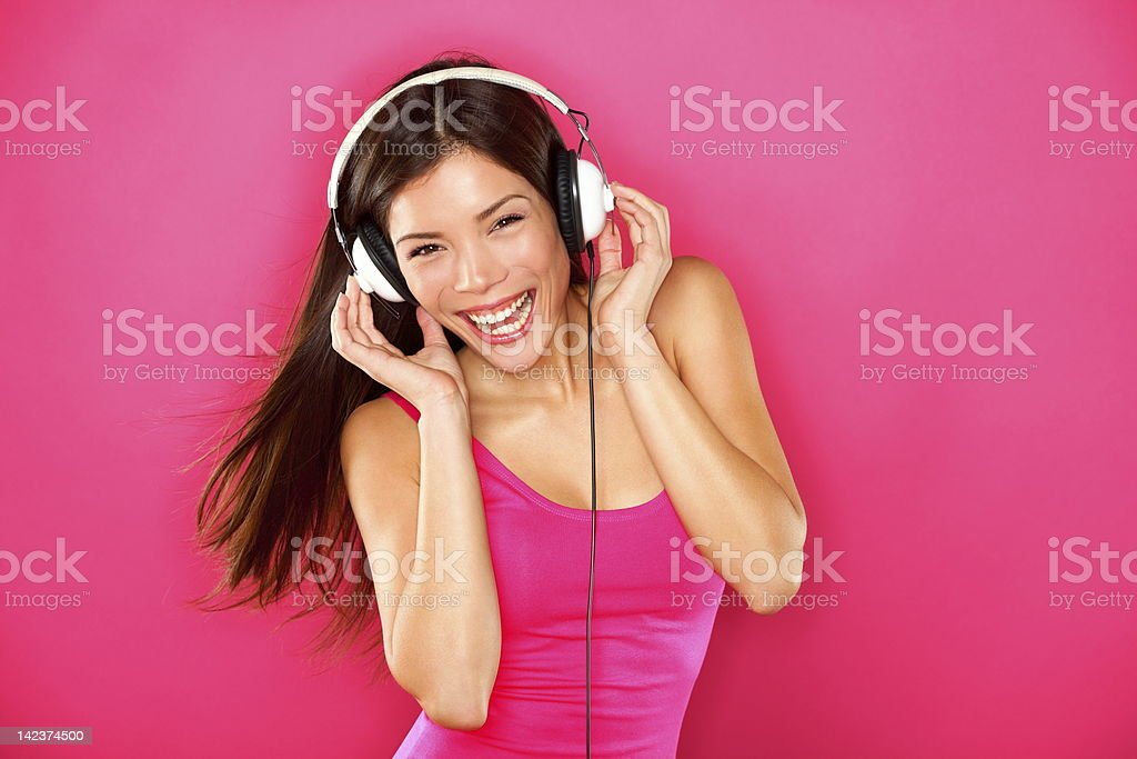 Headphones music woman dancing royalty-free stock photo