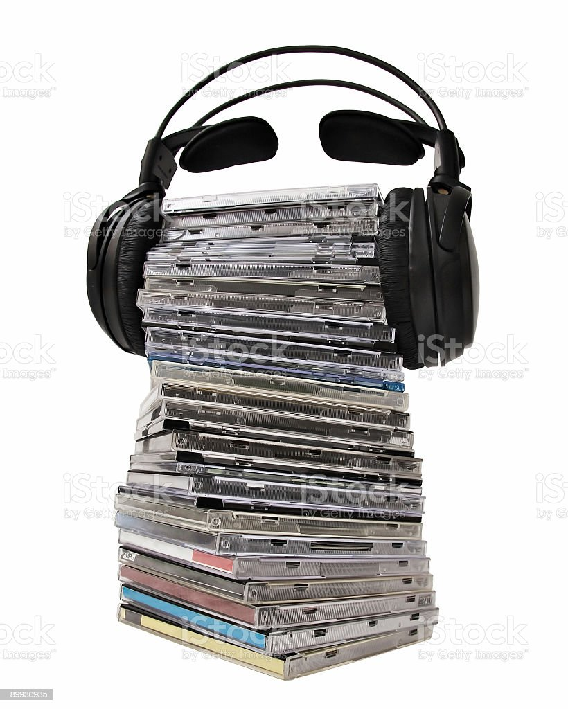 Headphones on CD heap royalty-free stock photo