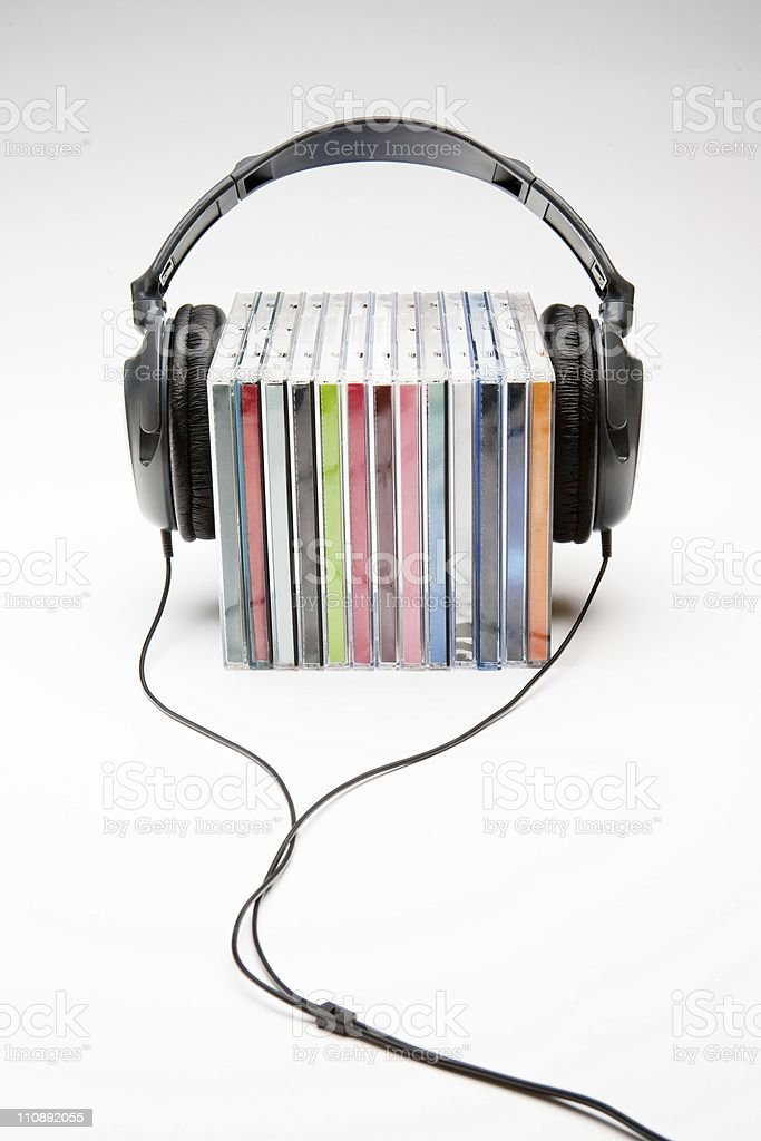 headphones on cd's stock photo