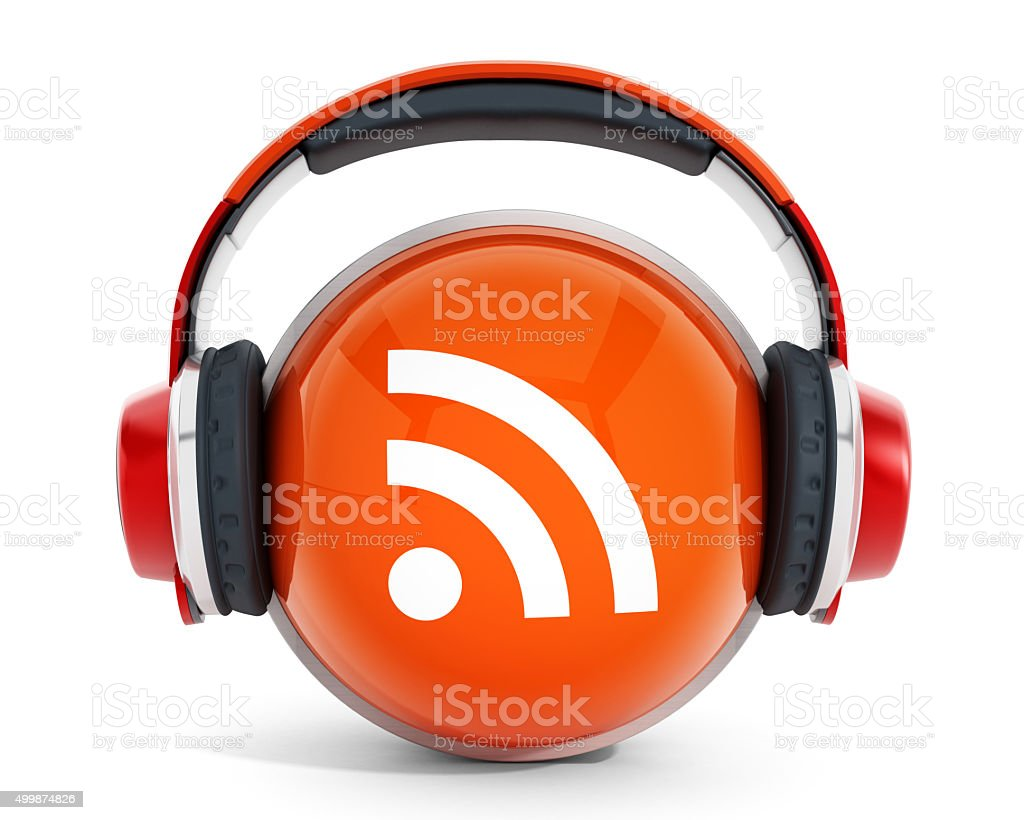 Headphones on RSS icon stock photo
