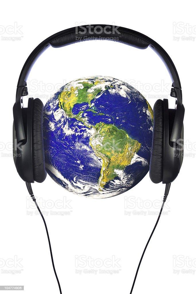 Headphones on the world stock photo