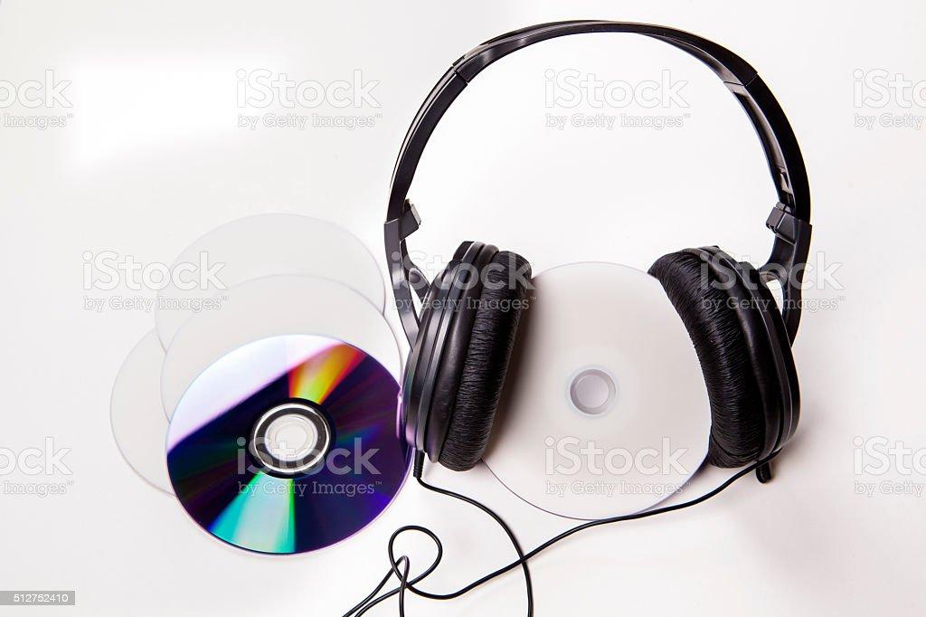 CD headphones stock photo