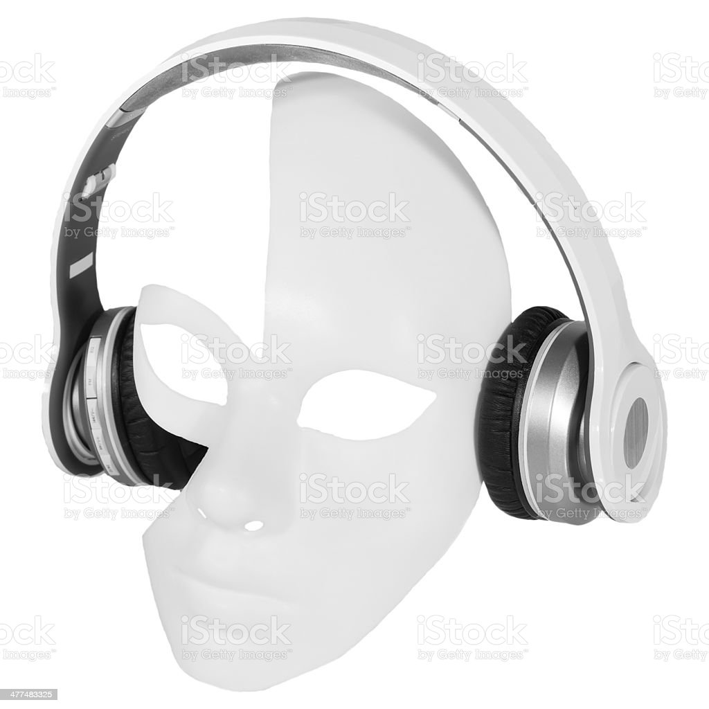 Headphones player carnival mask royalty-free stock photo