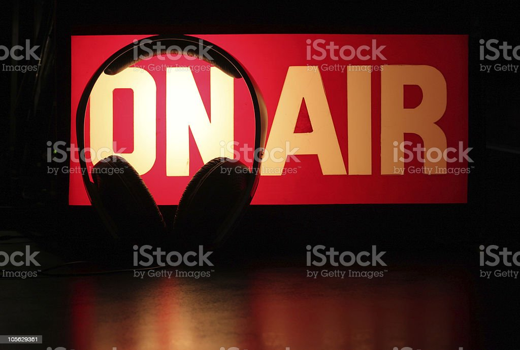 Headphones Podcast On-Air royalty-free stock photo