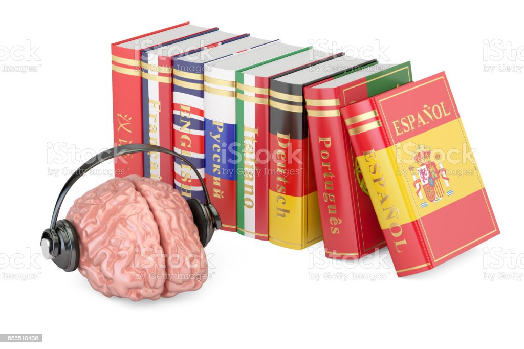 Headphones with brain and books, languages learning and translate concept. 3D rendering stock photo