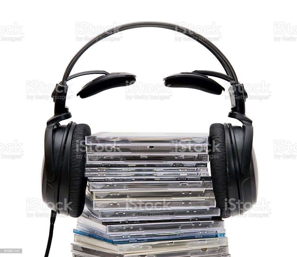 Headphones with CD stock photo
