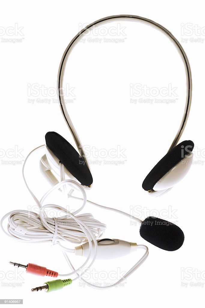 Headphones with microphone and jacks royalty-free stock photo