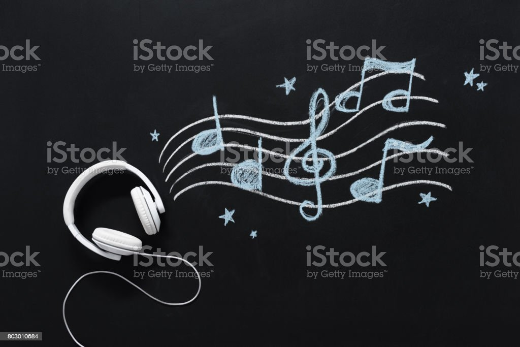 headphones with wire and musical notes drawn on black chalkboard stock photo