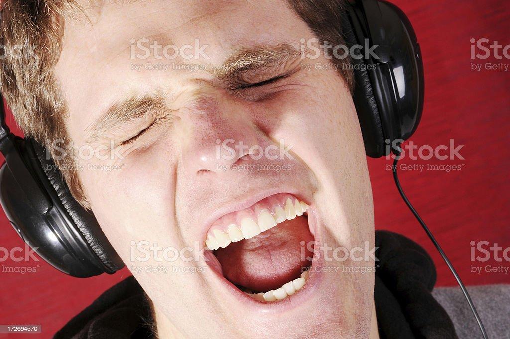 Headphones Yell stock photo