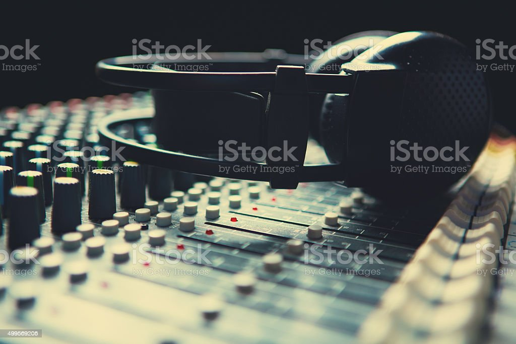 Headpnones on soundmixer stock photo