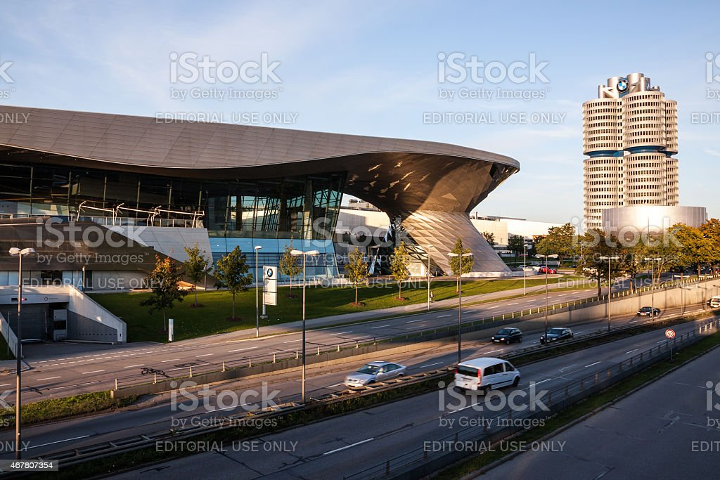 MUNICH: BMW Headquarter and museum at dusk stock photo
