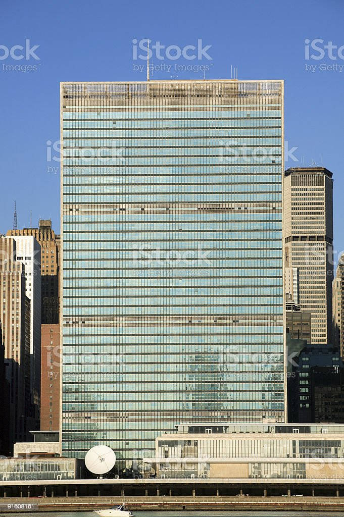 UN Headquarters across the East River, NYC stock photo