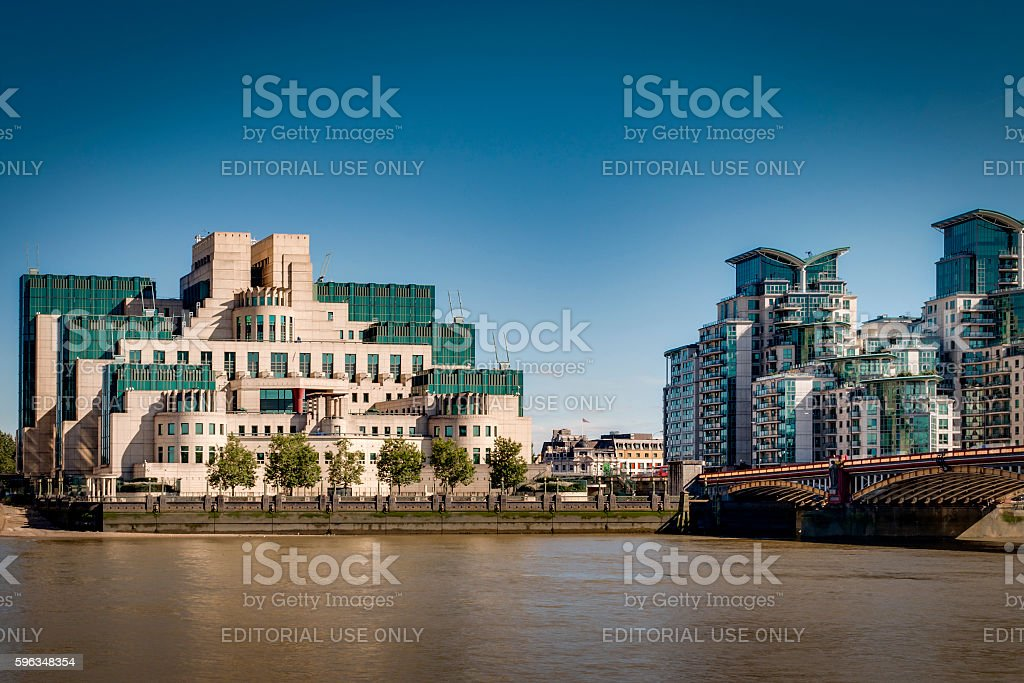 MI6 headquarters in Vauxhall, London, England stock photo