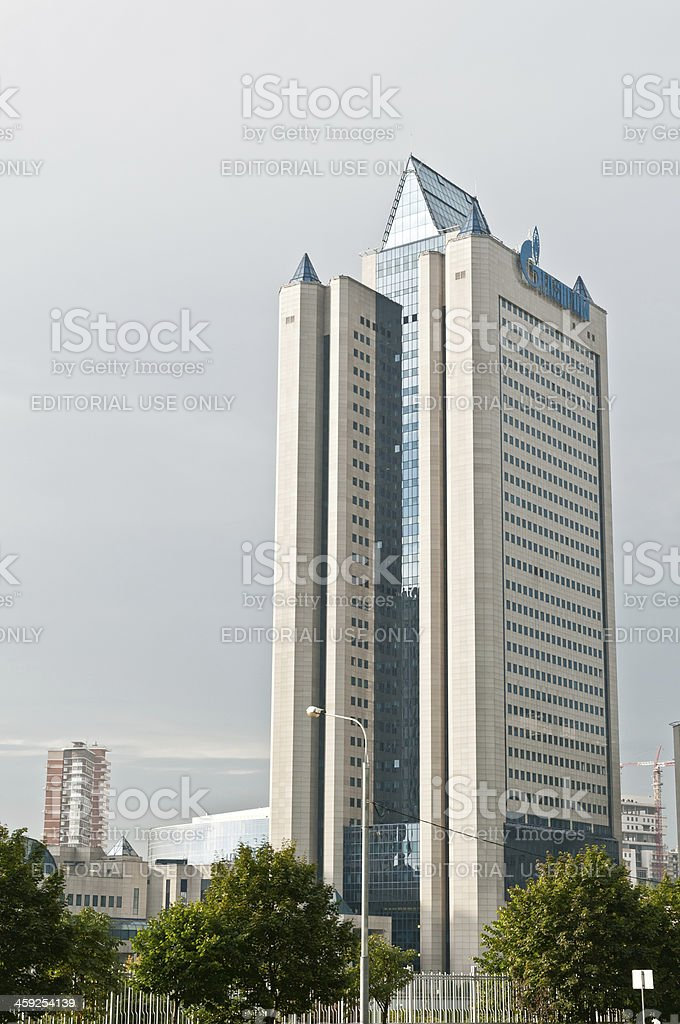 Headquarters of Russian company Gazprom in Moscow stock photo