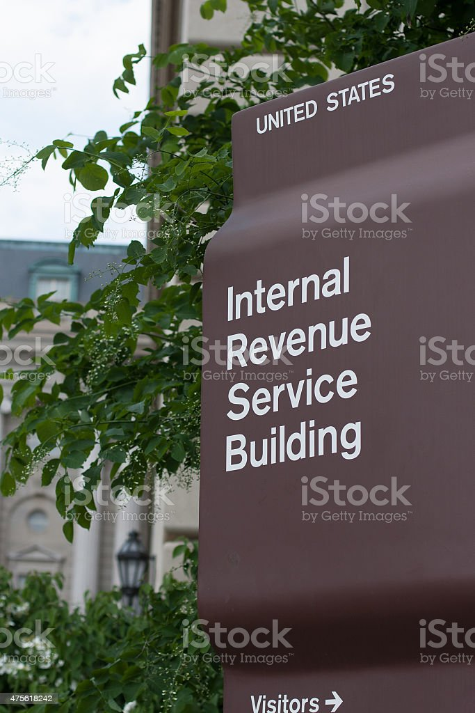 IRS Headquarters Sign stock photo