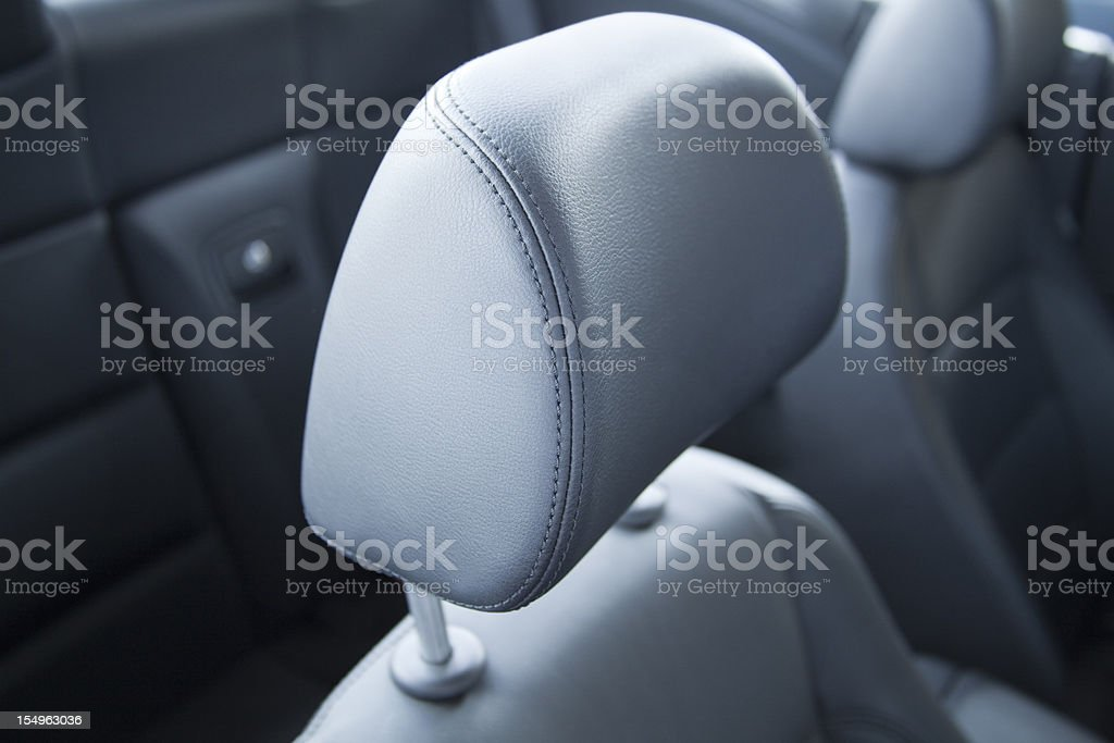 headrest in car close up stock photo