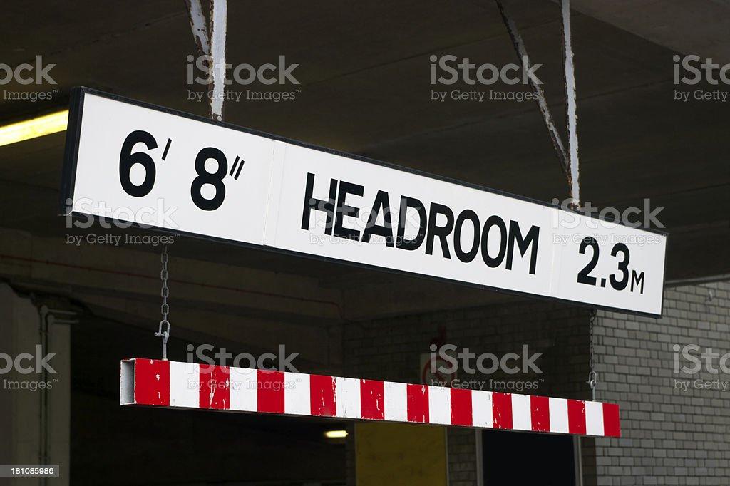 Headroom Sign At Car Park Entrance stock photo