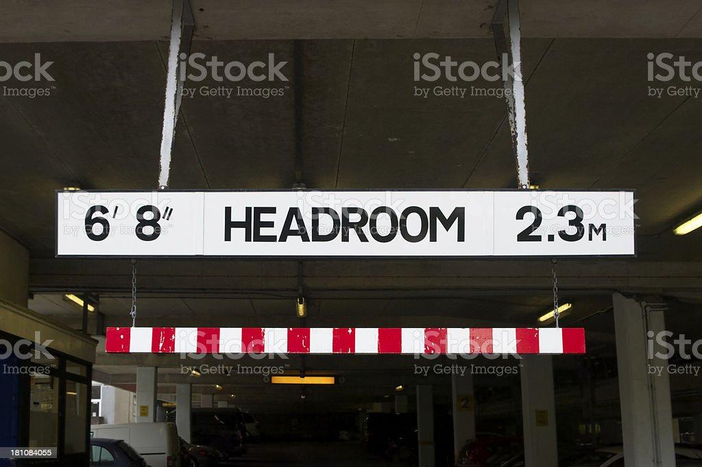 Headroom Sign On Multi-storey Carpark stock photo