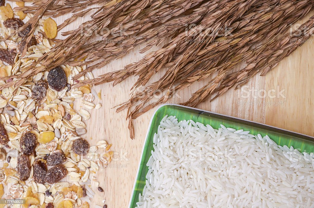 Heads of grain, rice and cereals. royalty-free stock photo