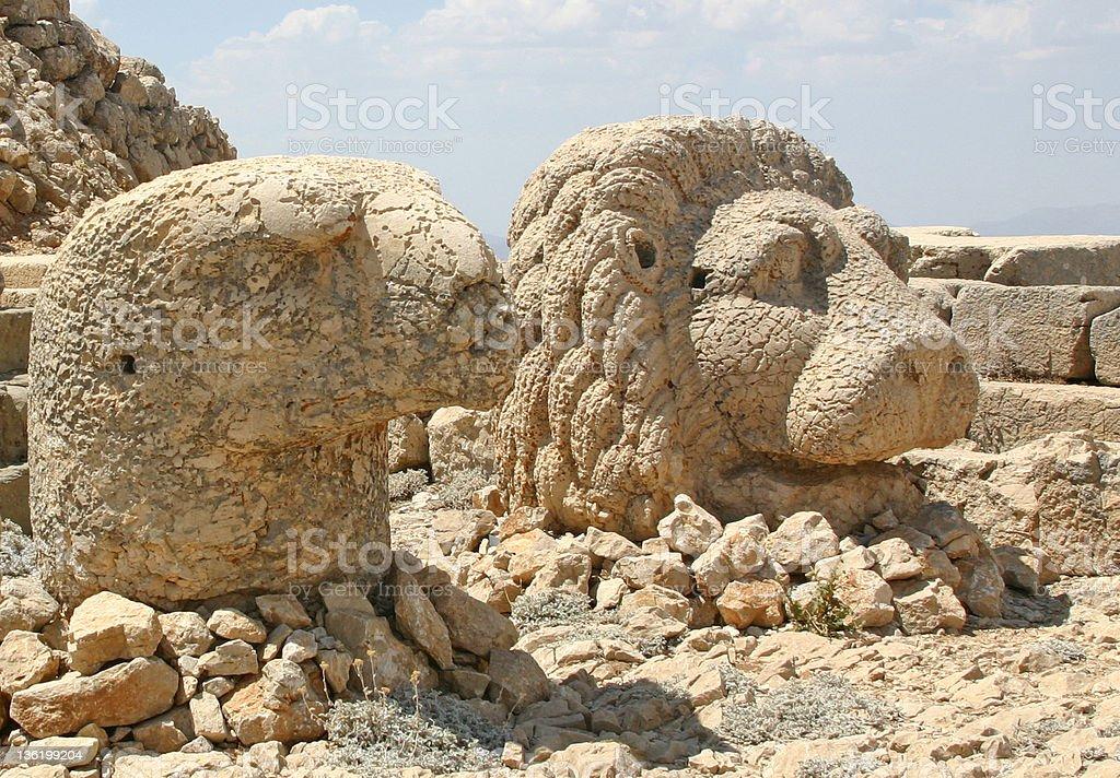Heads of Mount Nemrut royalty-free stock photo