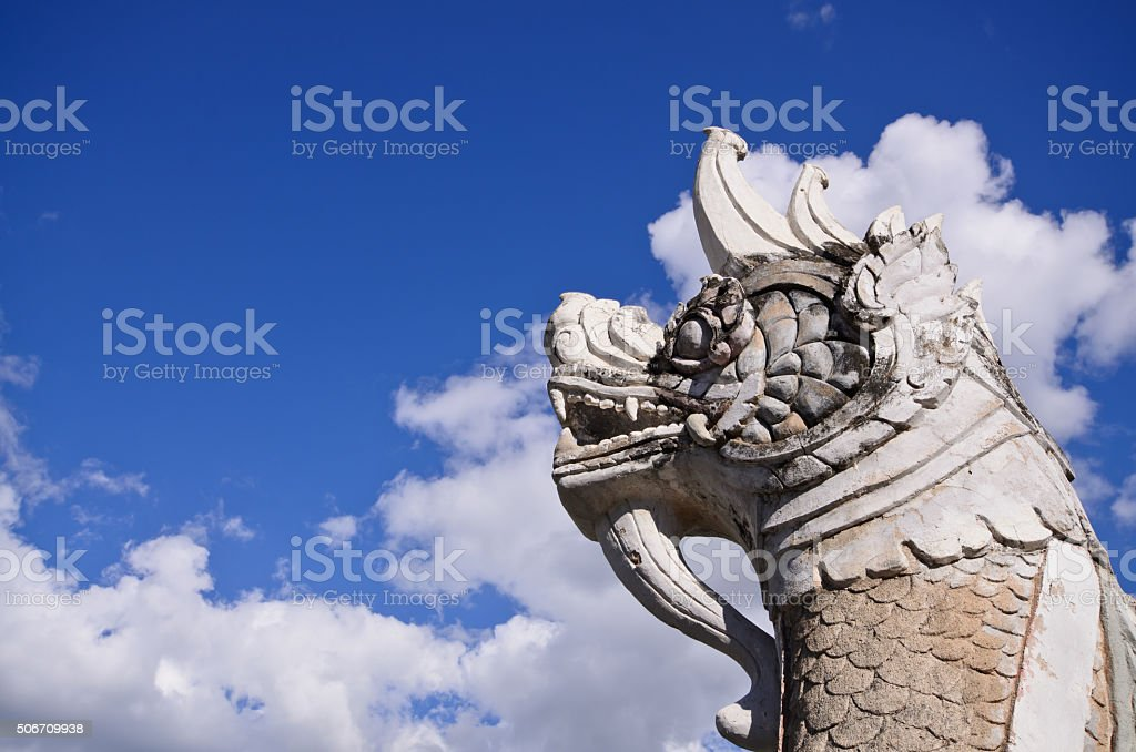 heads of Naka or Naga or serpent in buddhist temple stock photo