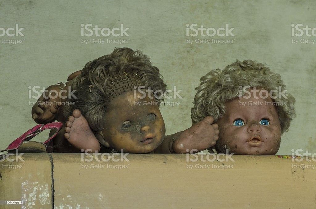 heads of two dolls stock photo