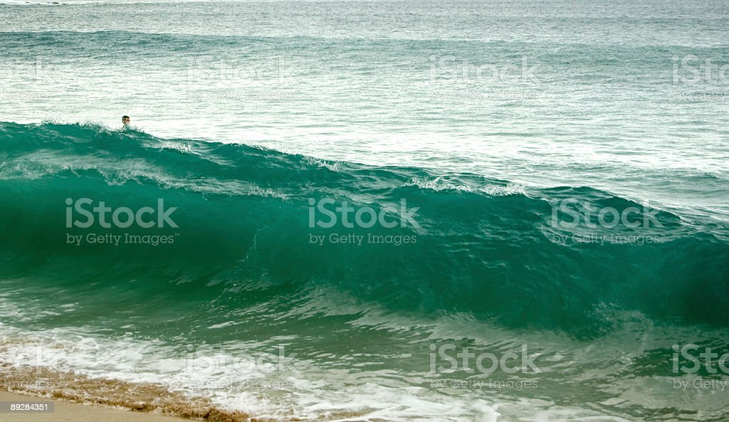 Heads Up and Green Wave royalty-free stock photo