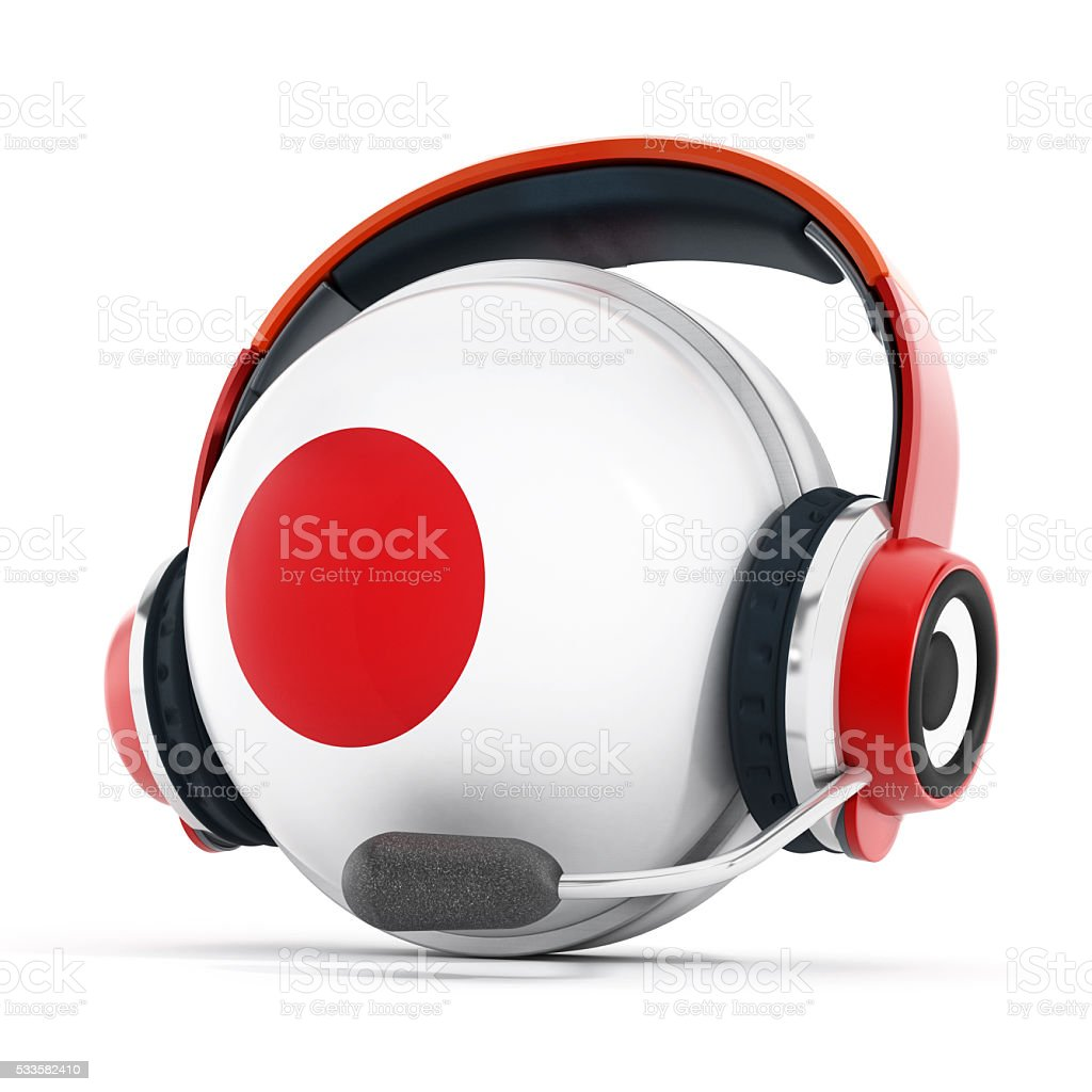Headset on Japan flag covered sphere stock photo