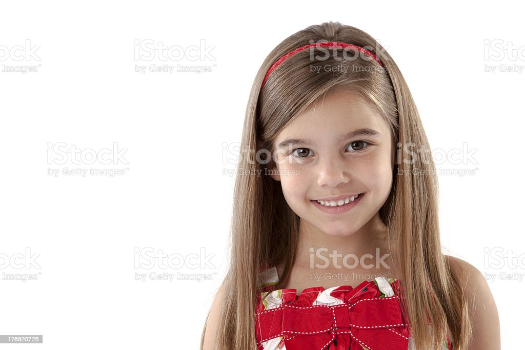 Headshot Adorable Girl Smiling with Long Hair Brown Eyes stock photo
