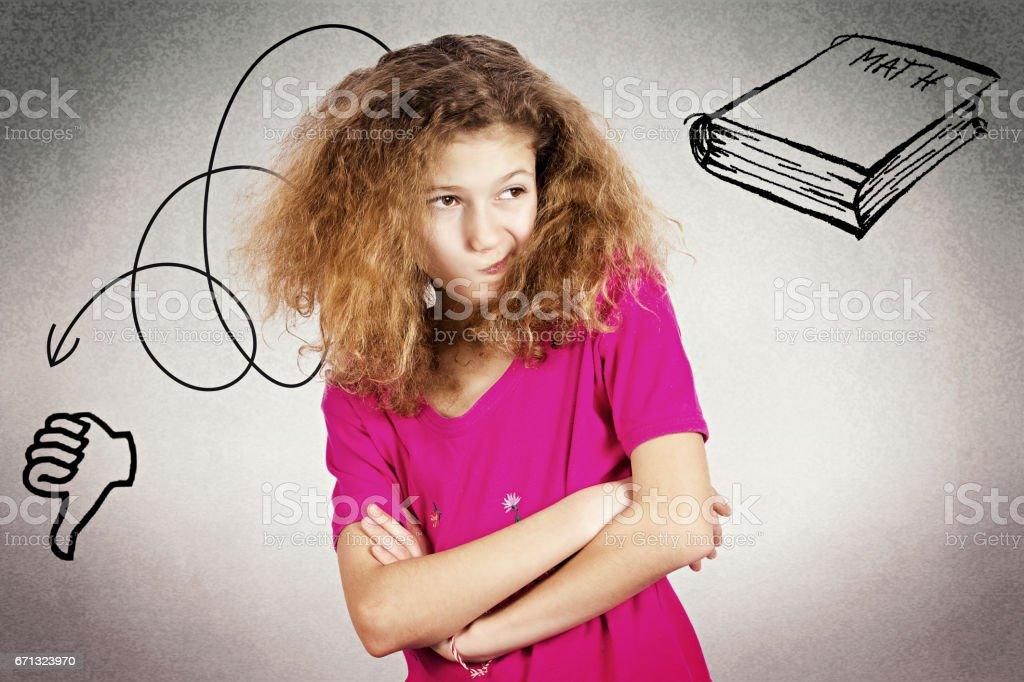 headshot little girl, unhappy, grumpy, displeased offended stock photo