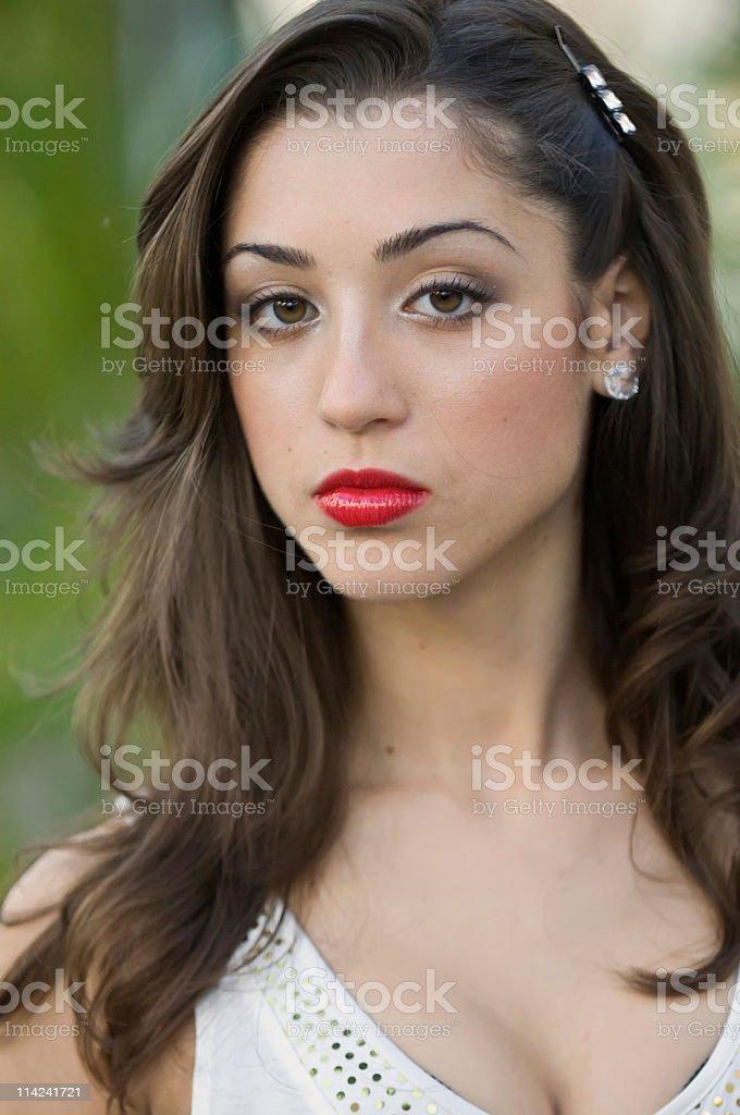 Headshot of a beautiful Hispanic young woman royalty-free stock photo