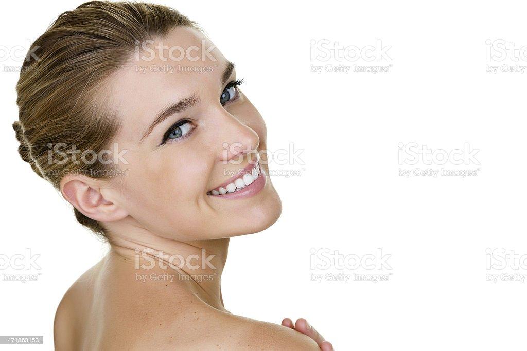 Headshot of a beautiful woman looking back to camera royalty-free stock photo