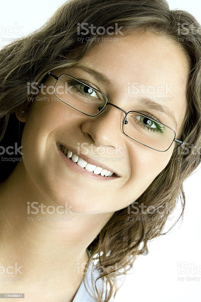 Headshot of a pretty young woman wearing glasses royalty-free stock photo