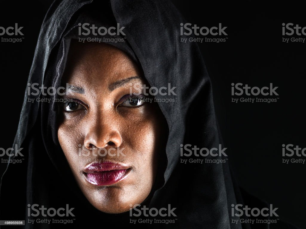 Headshot of an African Muslim woman stock photo