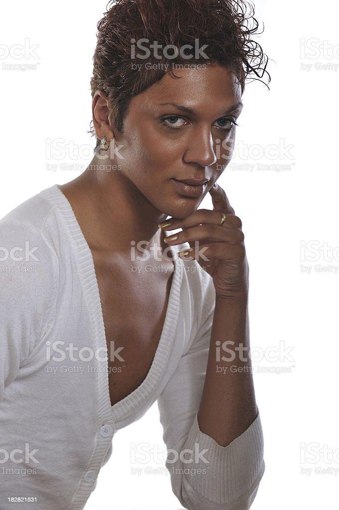Headshot of androgynous man royalty-free stock photo