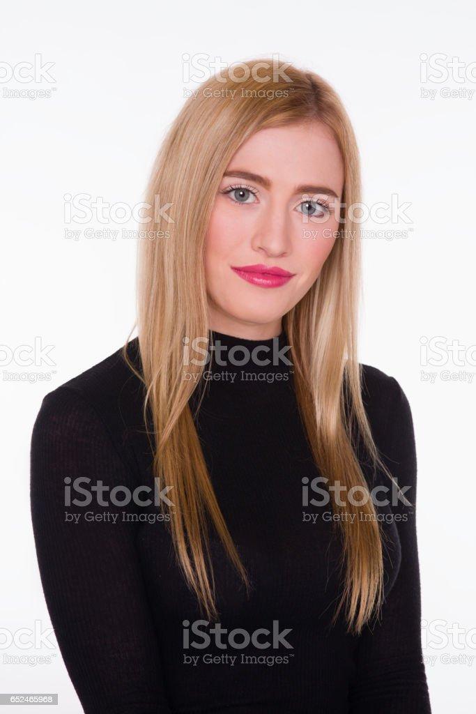Headshot of beautiful blond girl on white background stock photo