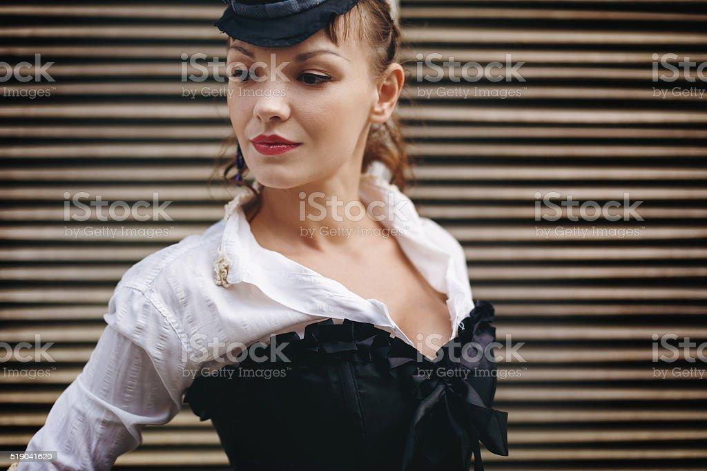 Headshot of Creative Vintage Woman stock photo